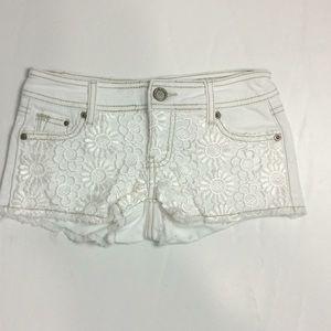 1ST Kiss White Flower Lace Cotton Shorts Sz 00